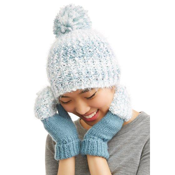 37099ff0659 TIME AND TRU - Women s Cozy Marled Beanie   Poptop Glove 2-Piece Set ...