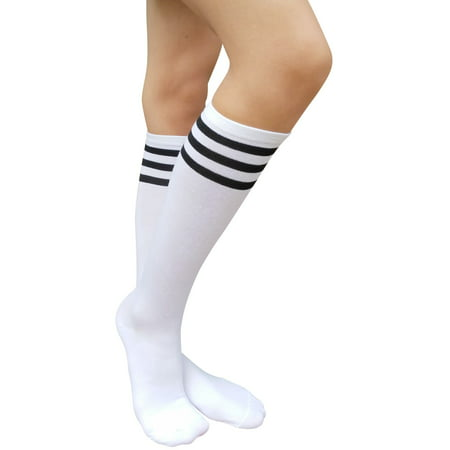 b0aece942 AM Landen - AM Landen Womens Stripe Knee High Socks Stripe Socks  Cheerleader Socks Uniform Socks (A. White Black Stripe) - Walmart.com