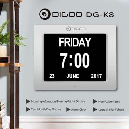 Digoo DG-K8 Calendar, 8.5 inch Memory Loss Calendar Alarm Clock, Home Office Desk Table Wall Mount Clock with Week 12/24 Time Date Display, 3 Alarm Setting