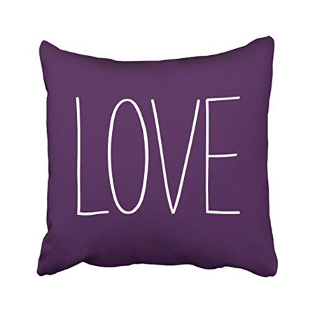 WinHome Decorative Soft Zippered Love Pillow Cover pale pinkish purple violet Blue Standerd Pillowcase Size 18x18 inches Two Side - Purple Pillow