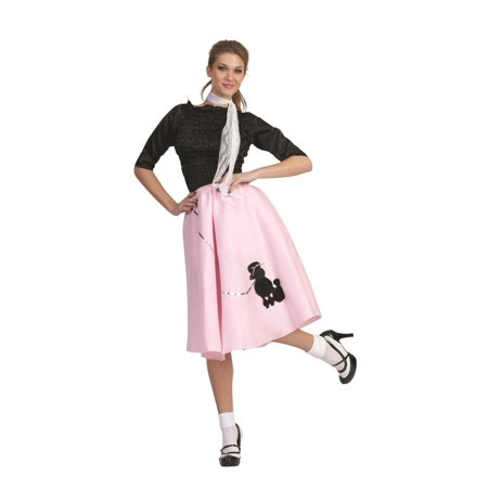 Pink Poodle Skirt 50's Scarf Sock Hop 1950's Retro Grease Sandra Dee Adult](Sandy From Grease Outfit)