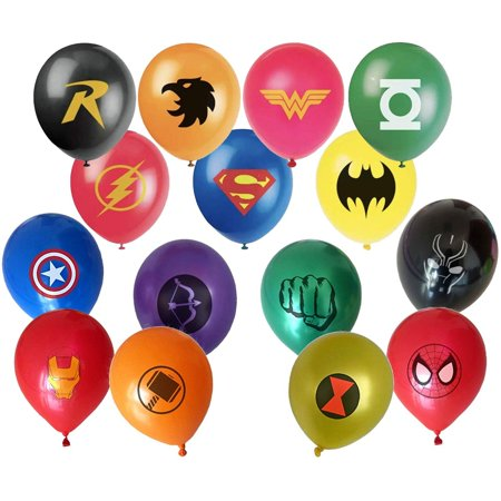 Superhero Balloon Party Favor Supplies - 30ct 12'' Avenger and Justice League Hero Theme Latex Balloons for Comic Theme Party and Decorations