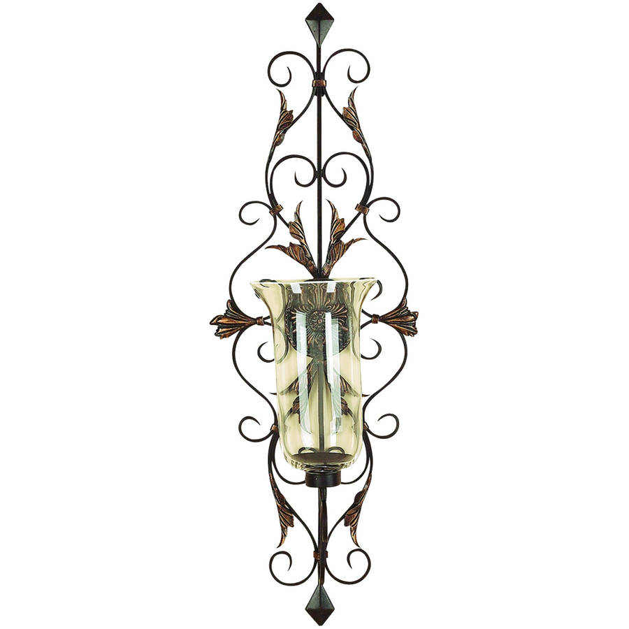 Decmode Metal and Glass Candle Sconce, Multi Color by DecMode