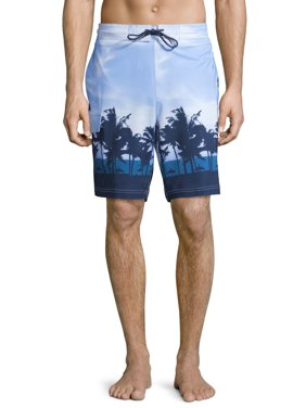 """George Men's and Big Men's 9"""" Sunset Print E-board Shorts, up to Size 3XL"""