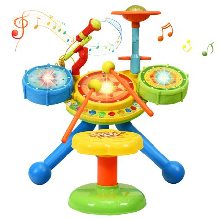 Gymax Kids Electric Jazz Drum Set Musical Instrument with Stool Microphone & LED Light - image 1 of 10