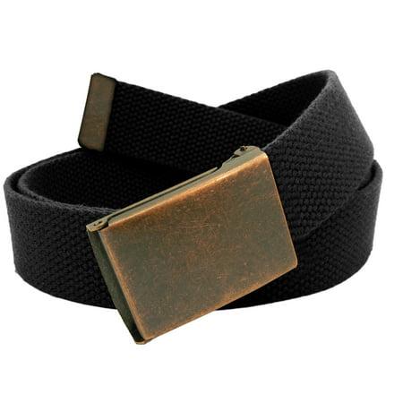 Men's Antique Copper Flip Top Belt Buckle with Canvas Web Belt Small Black