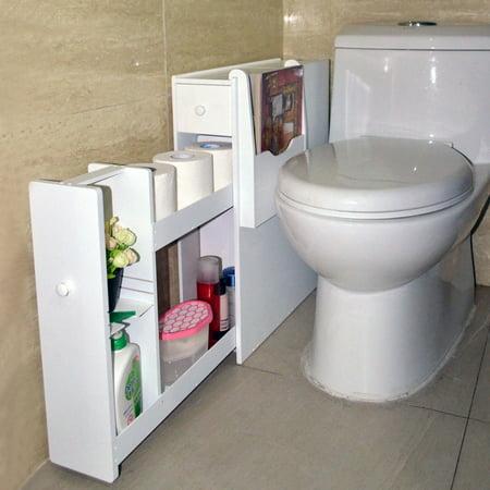 Organizedlife White Toilet Cabinet Bathroom Towel Storage Organizer Shelf Floor Free Standing by Organizedlife