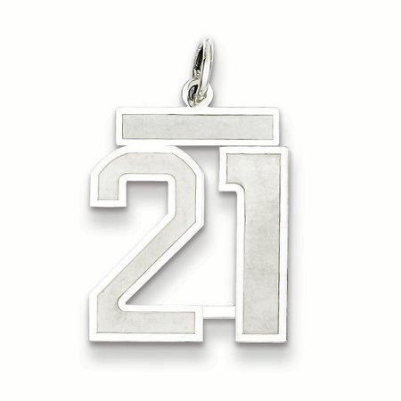 Sterling Silver Rhodium-plated Medium Satin Number 21 Charm QPM21 (22mm x 18mm) - image 1 of 2