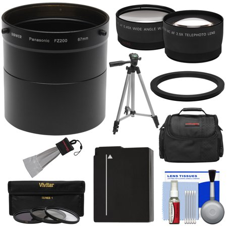 Panasonic Lumix DMC-FZ200 Digital Camera Essentials Bundle with Adapter Tube + 2.5x Tele & .45x Wide Lens + 3 Filters + DMW-BLC12 Battery + Case + Tripod Kit