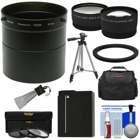 Panasonic Lumix DMC-FZ200 Digital Camera Essentials Bundle with Adapter Tube + 2.5x Tele & .45x Wide Lens + 3 Filters + DMW-BLC12 Battery + Case + Tripod Kit