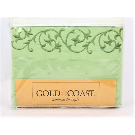 Gold Coast Deluxe Sheet Set With Embroidery in Sage - Twin