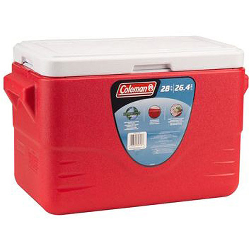 Coleman 28-Quart Molded Handle Cooler, Red