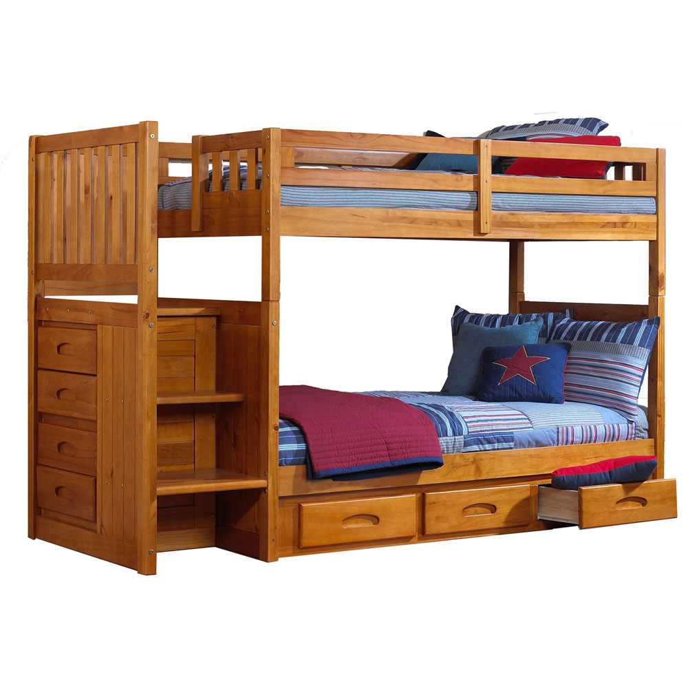 Springside Twin/Twin Staircase Bunk Tu0026B Up,Stair,Guard,Rail,