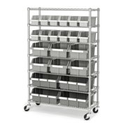 Commercial Platinum/Gray 7-Shelf 22-Bin Rack Storage System, 14 x 36 x 56 by Seville Classics