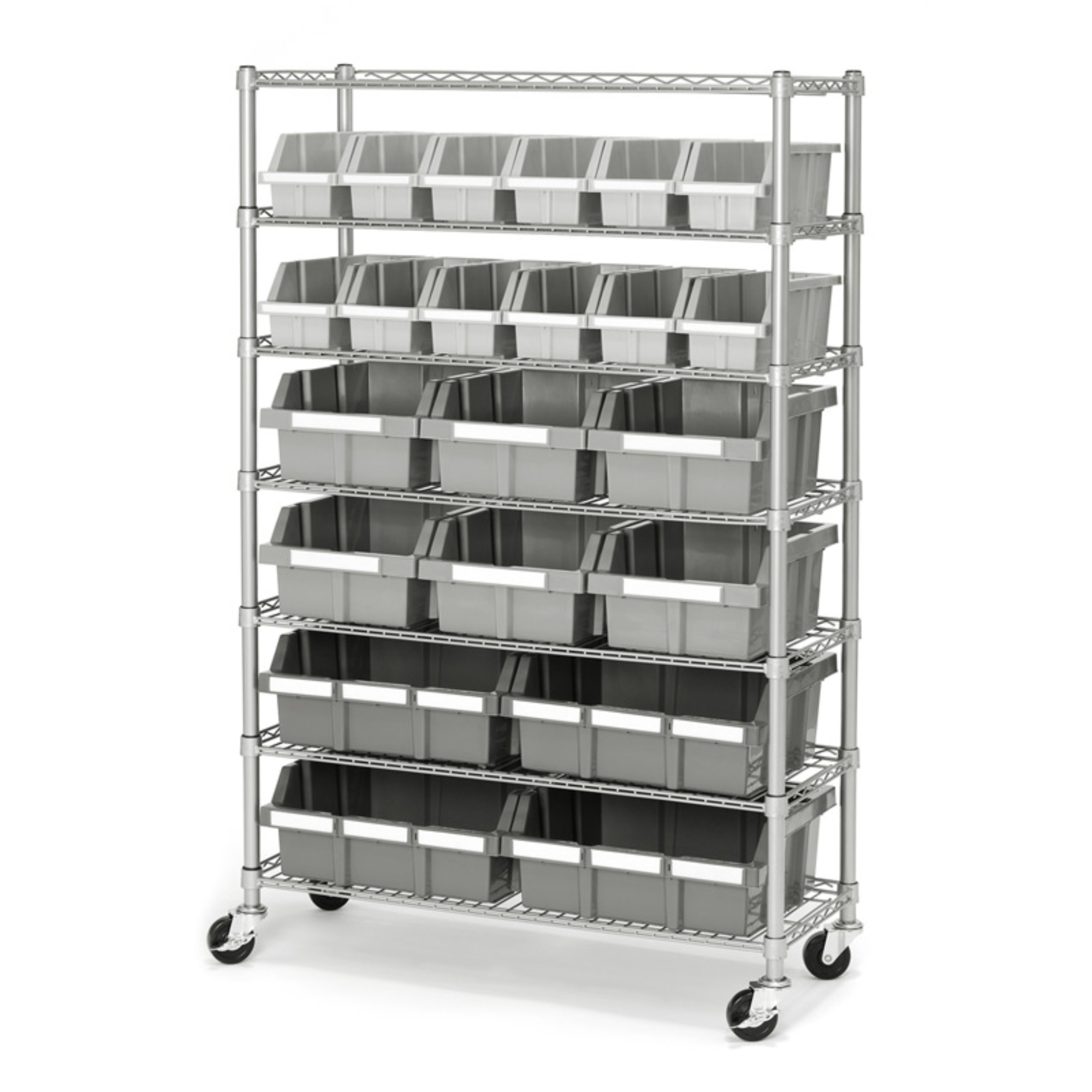 Commercial Platinum/Gray 7-Shelf 22-Bin Rack Storage System, 14 x 36 x 56 by Seville Classics