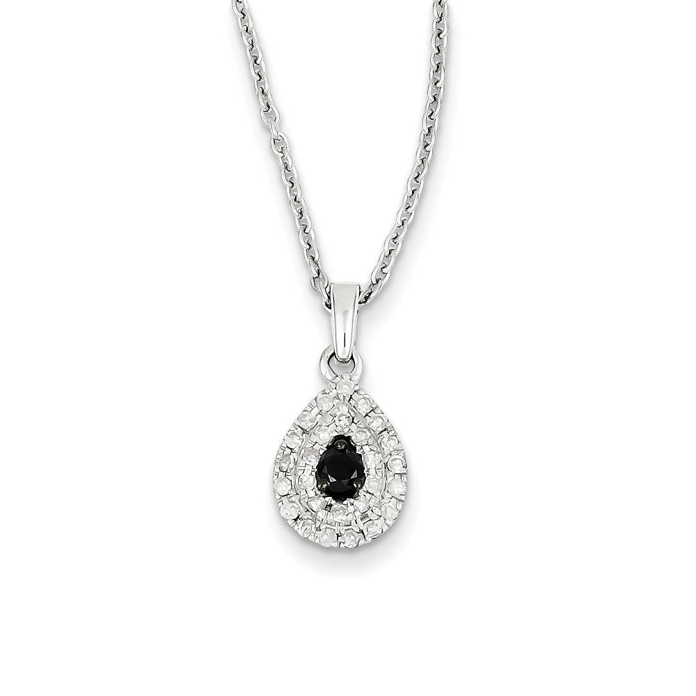 1/4 Cttw Black & White Diamond Teardrop Necklace in Sterling Silver