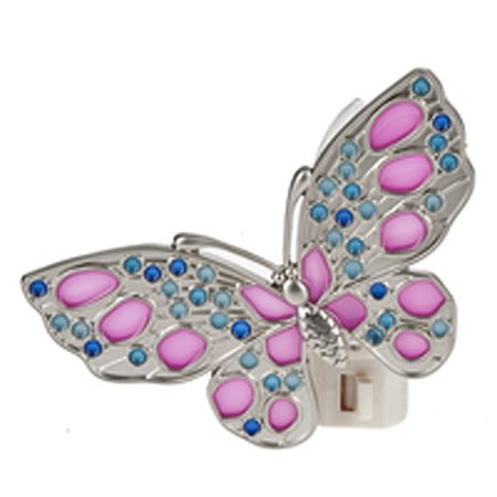Butterfly Night Light With Pink and Blue Inlays - By Ganz