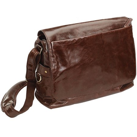 BROWN BELLINO LEATHER MESSENGER BAG