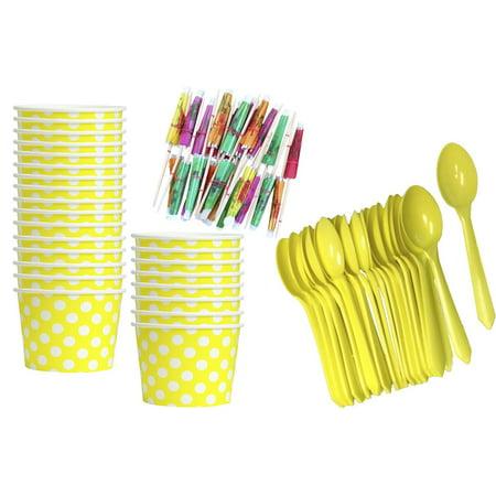 Yellow Polka Dot 8 Ounce Ice Cream Kit for - Ice Cream Party Ideas