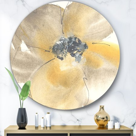 DESIGN ART Designart 'Galm Flower Tones II' Glam Metal Circle Wall (Two Tone Flower Circle)