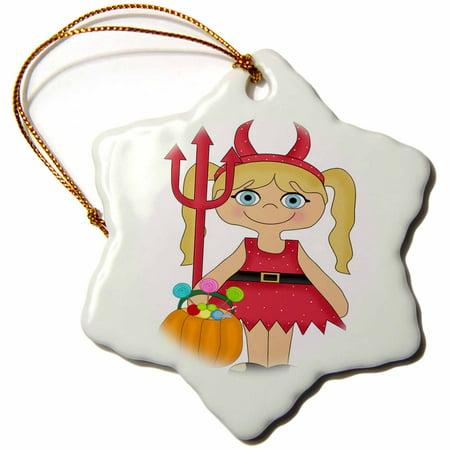 3dRose Cute Little Girl Illustration Dressed As The Devil For Halloween, Snowflake Ornament, Porcelain, 3-inch - Little Girl Halloween