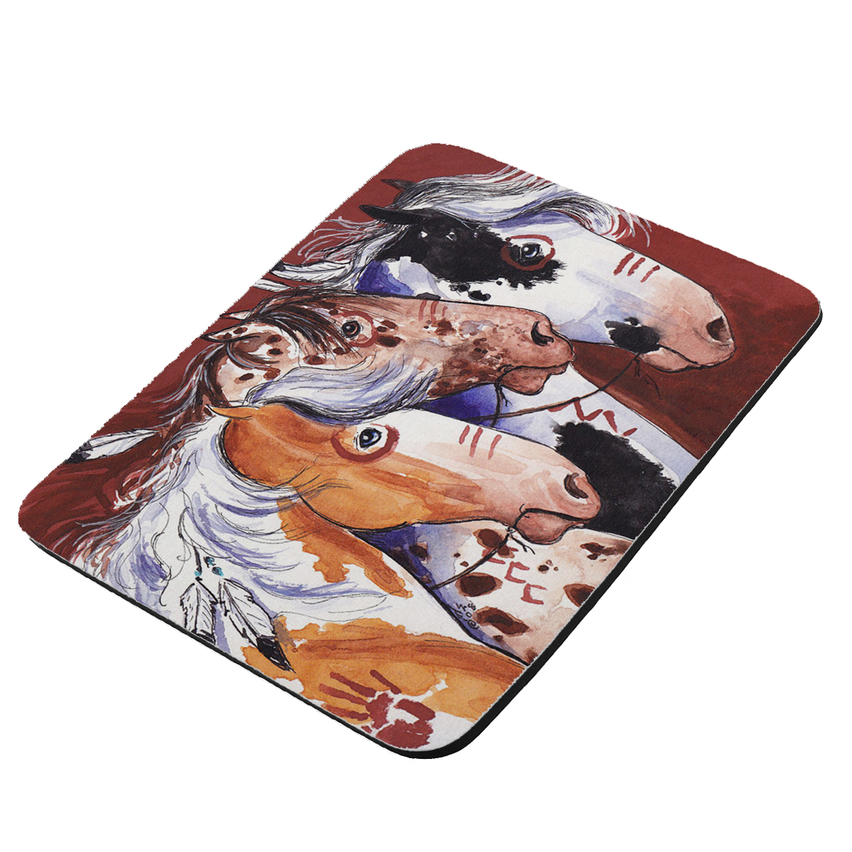 Pinto and Appaloosa Indian War Ponies Horse Art by Denise Every - KuzmarK Mousepad / Hot Pad / Trivet