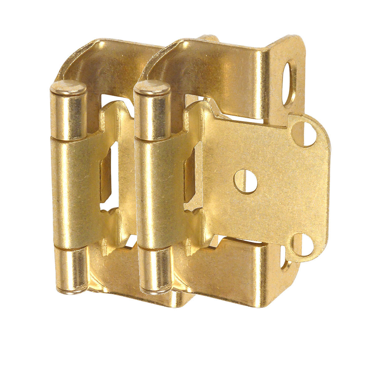 "Cosmas 27550-BB Brushed Brass Self Closing Partial Wrap Cabinet Hinge 1/2"" Inch Overlay (Pair) [27550-BB]"