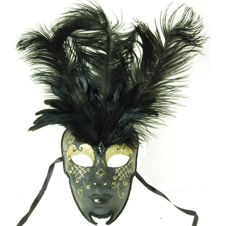 Royal Onyx Feathered Mardi Gras Costume Mask w/Gold Eyebrows One Size](Mardi Grass Costume)