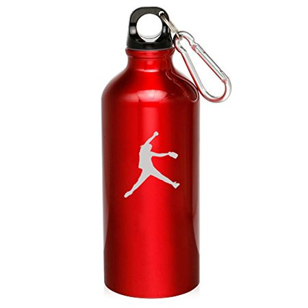 20oz Aluminum Sports Water Bottle Caribiner Clip Female Softball Pitcher