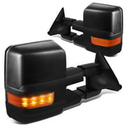 For 1988 to 2002 Chevy / GMC C / K Pair Manual+Amber LED Turn Signal Tow Towing Mirror