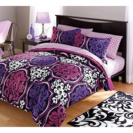 dotted damask bedding comforter set, purple, Brand new your zone Dotted damask 2 pieces bedding set includes: By Your Zone