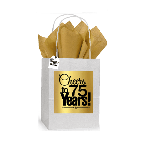 75th Cheers Birthday / Anniversary White and Gold Themed Small Party Favor Gift Bags Stickers Tags -12pack
