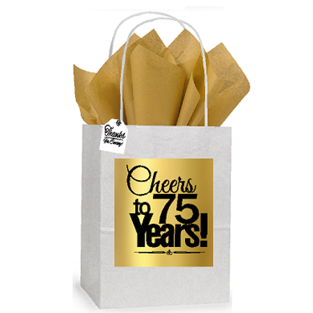 75th Cheers Birthday / Anniversary White and Gold Themed Small Party Favor Gift Bags Stickers Tags -12pack - Good Party Themes