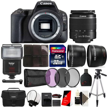 Canon EOS Rebel 200D / SL2 24.2MP Digital SLR Camera Black EF-S 18-55mm Lens with Bounce Zoom Flash and Complete