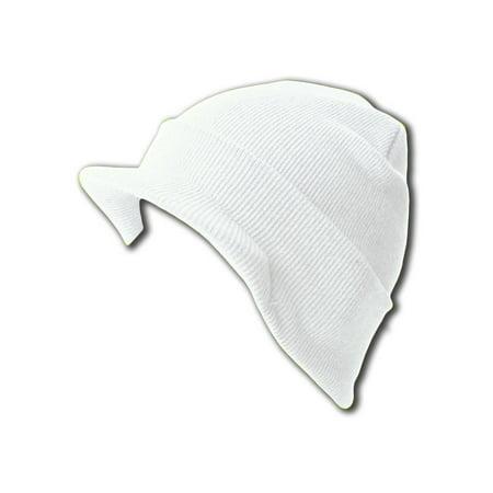 NEW CUFF IVORY WHITE HOT Beanie Visor Skull Cap HAT Sluggers - White Visors