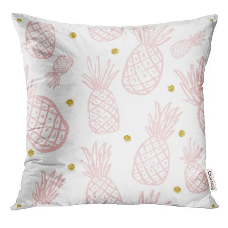 ARHOME Yellow with Pineapple Vintage for Your Pineapples Rose Quartz Modern Color Gold Pink Pattern Colorful Pillow Case 16x16 Inches - Pink Pillow