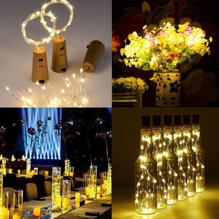 20LED 6.6FT Cork Shaped LED Night Light Starry Wine Bottle Lamp for Xmas Party Home Garden Wedding Outdoor Indoor Decoration, Warm White