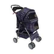Blue Plaid 4 Wheels Pet Dog Cat Stroller W/raincover