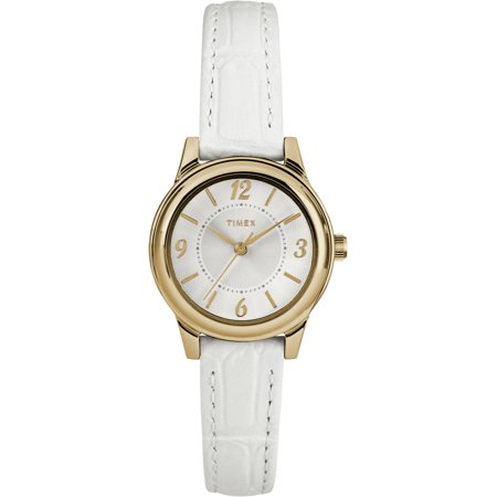 Women's Core 26mm Gold-Tone/Silver-Tone Watch, White Croco Pattern Leather Strap Croco Strap Date Watch