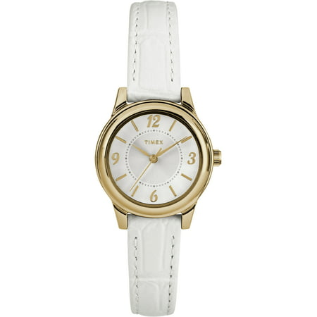 Women's Core 26mm Gold-Tone/Silver-Tone Watch, White Croco Pattern Leather Strap Croco Embossed Leather Strap Watch