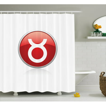 Zodiac Taurus Shower Curtain Vibrant Round Circle Astrological Icon Of Earth Sign Fabric