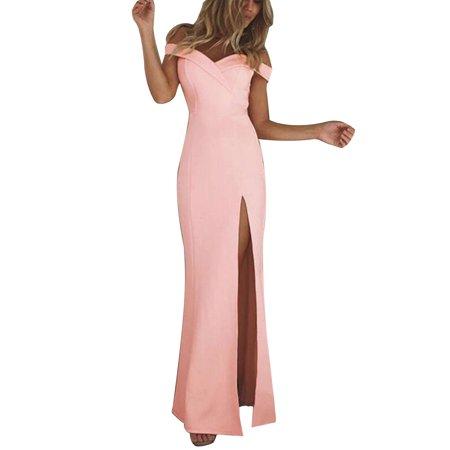 f8086846c0 Sexy Dance - Women Off Shoulder Ball Gown Dress Elegant Side Slit Split  Ladies Plain Simple Tube Top Party Evening Long Maxi Dress - Walmart.com