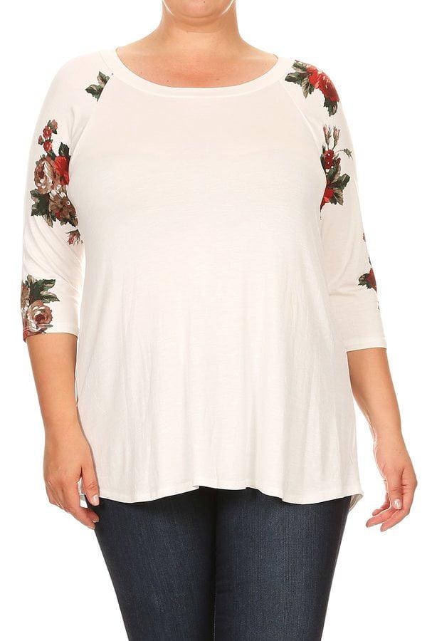 Women's Plus Size Raglan Style Floral Sleeve Tunic Top