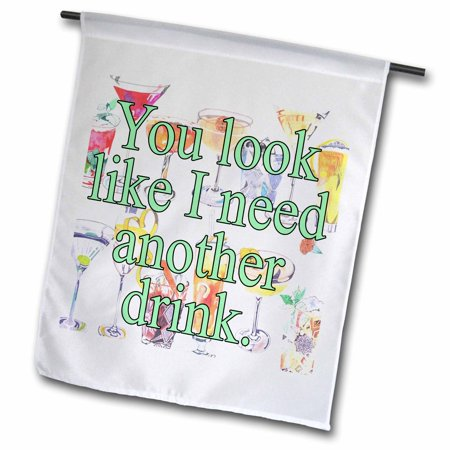 Image of 3dRose You look like I need another drink. Green. - Garden Flag, 12 by 18-inch