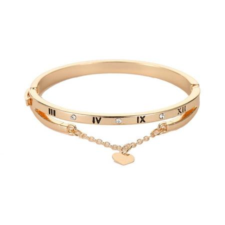 KABOER Crystal Heart Bracelet Digital Tassel Charm Bangle Golden Silvery Rosegolden Women Girls Jewelry Christmas Couple Gifts ()