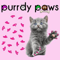 6 Month Supply - Purrdy Paws Lipstick Pink Soft Nail Caps for Medium Cats Claws - Extra Adhesives