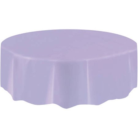 Lavender Plastic Party Tablecloth, Round, 84in (Pink Paper Tablecloths)
