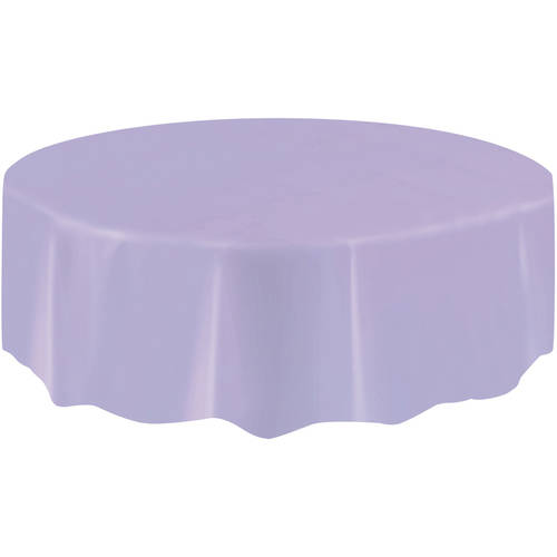 Plastic Round Tablecloth, 84 In, Lavender, 1ct