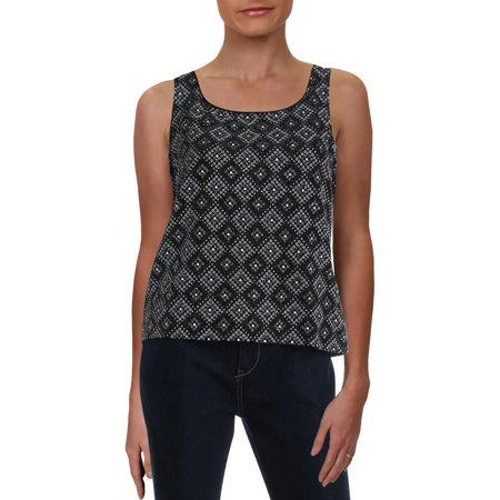 Alex Evenings Womens Knit Metallic Tank Top B/W L Metallic Trim Tank