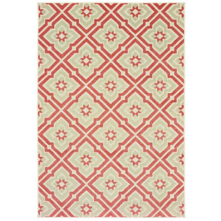 Diagonal Accent - Moretti Vail Area Rugs - 1801C Transitional Pink Diamonds Diagonals Petals Spiked Rug